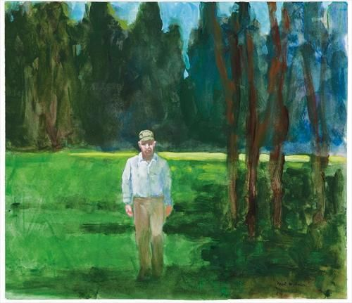 Paul Wonner (Am. 1920- ), In a park (WM. Theophilus Brown), 2002, acrylic on paper