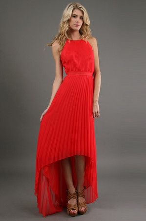 The Pleated High Low Dress in Red by Phoebe Couture.  Take an extra 15% off your order!