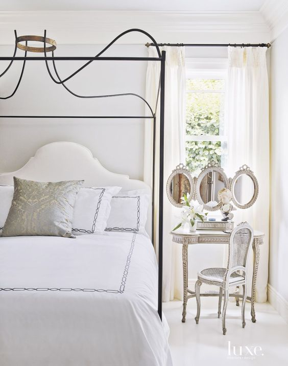 Designers Myra Hoefer and Gina Gattuso brought a glamorous feel to the interiors of a Marin County house. Romantic European Farmhouse Bedroom Decor Ideas!