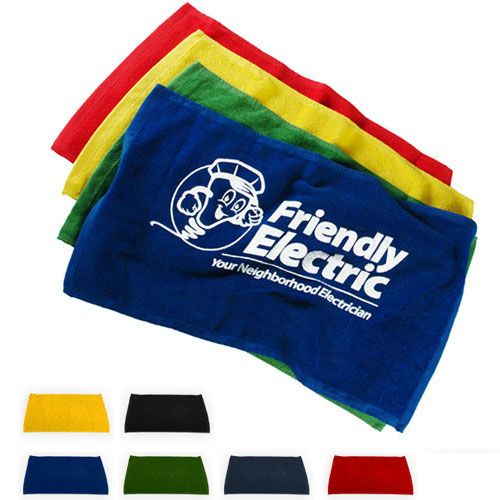 Fun customizable rally towels for sports fans! Personalize them with your team logo or message and show school spirit. Starting at $1.64 each for 100 (plus $50 set up charge), and available in 6 bright colors. Spirit Towels | via http://www.allsorts-online.com/ #promotionalproducts