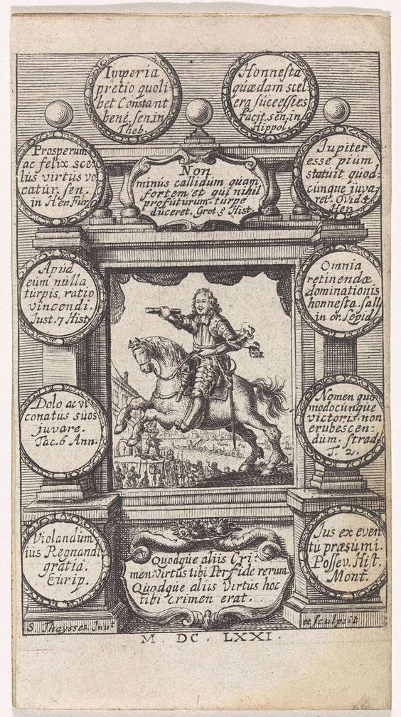 S. Thaysses   Oliver Cromwell te paard, S. Thaysses, 1671   Oliver Cromwell als bevelhebber te paard met op de achtergrond de onthoofding van Karel I van Engeland. De voorstelling is gevat in een kader met boven en onder cartouches met teksten in het Latijn. Langs de zijkanten van het kader tien cirkels met daarbinnen teksten in het Latijn.