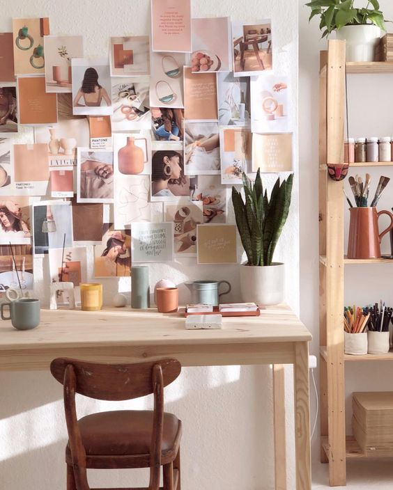 Home office with inspiration wall and mood board #moodboard #inspirationboard