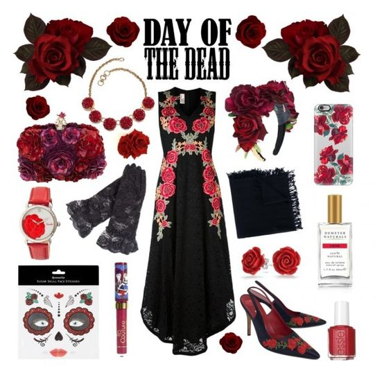 """""""Red Roses for the Dead"""" by inspiredsara ❤ liked on Polyvore featuring Demeter Fragrance Library, Faliero Sarti, Antonio Marras, LASplash, Bling Jewelry, Alexander McQueen, Casetify, Rock 'N Rose, Manolo Blahnik and Accessorize"""