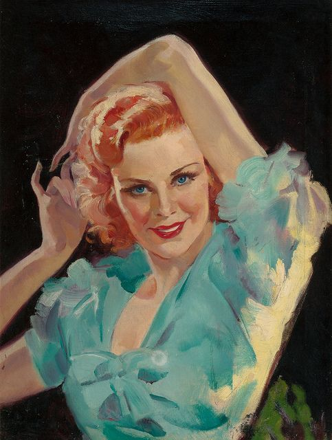 Red Head in Blue Blouse, oil on canvas 24 x 18 in. by Bradshaw Crandell (American, 1896-1966):