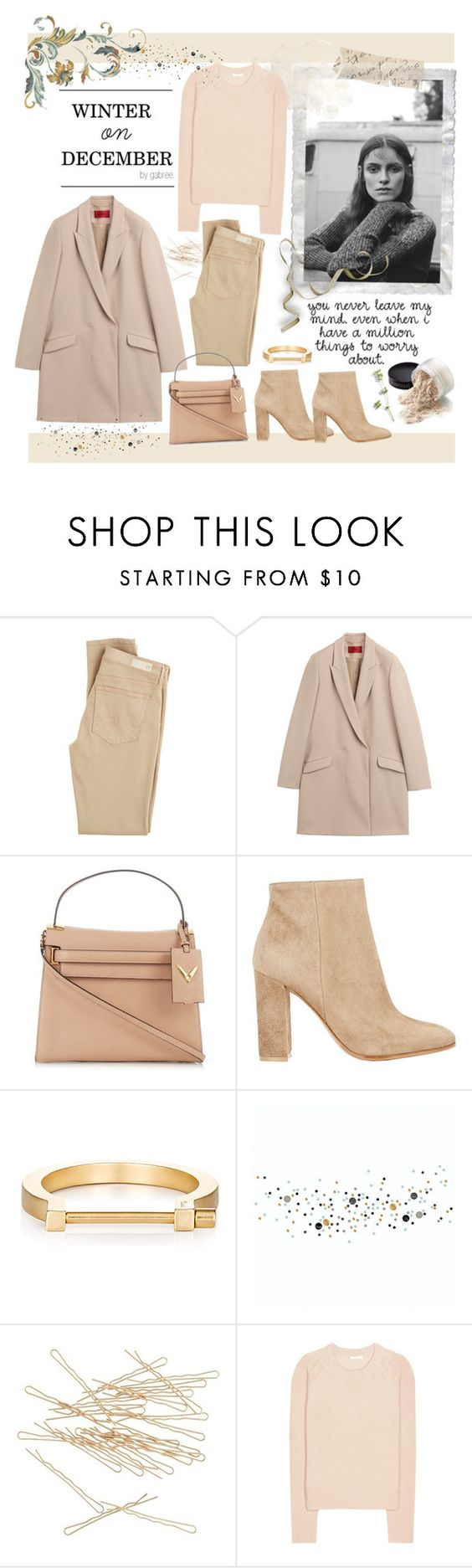"""Winter on December"" by gabree ❤ liked on Polyvore featuring Love Quotes Scarves, AG Adriano Goldschmied, HUGO, Valentino, Gianvito Rossi, MIANSAI, J.Crew and Chloé"