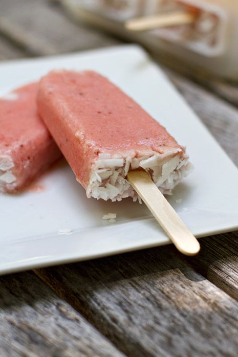 Strawberry Peach Coconut Popsicles