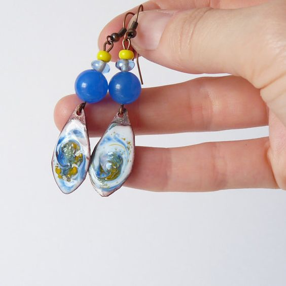 Enamel Copper Blue Earrings Modern Copper Statement by bleuluciole