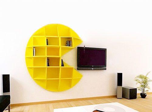 Pacman TV Room: Book Shelf, Game Rooms, Pac Man, Dream Home, Pacman Bookshelf, Pacman Bookcase, Creative Bookshelves, Pacman Shelf