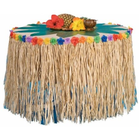 Natural Raffia Table Skirt With Flowers 9 Long X 28