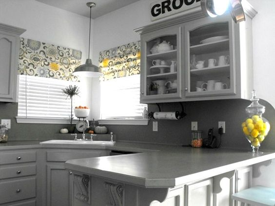 Gray And Yellow Faux Roman Shades Kitchen Ideas