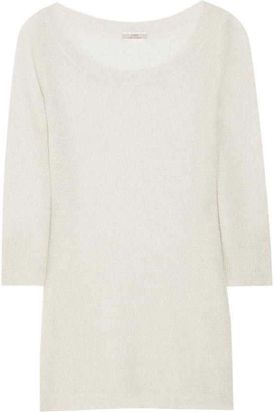 J.Crew|Open-knit cashmere sweater|NET-A-PORTER.COM