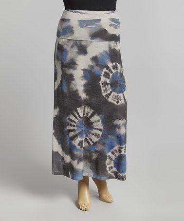 Loving this Black & Blue Tie-Dye Maxi Skirt - Plus on #zulily! #zulilyfinds