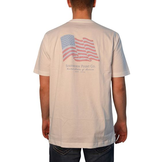 Southern Point Waving American Flag T-Shirt in White