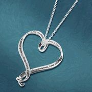 Love Is, Sterling Silver Ribbon Heart Necklace <3
