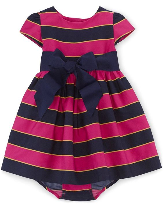 Ralph Lauren Baby Girls' Sateen Dress Size 6M Pink Multi. Crew neckline. Buttoned placket at the back. Cap sleeves. Clean-finished hem. Self-tie grosgrain belt at the waist. Remove belt before washing. Fully lined. Comes with a matching bloomer.