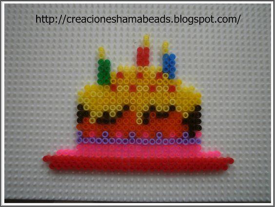 Birthday cake hama beads  by Creaciones Hama Beads