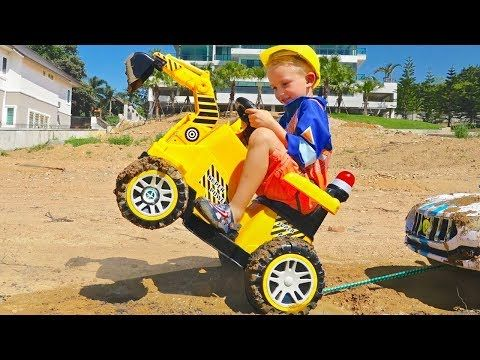 Vlad Ride On Excavator Help Little Nikita Youtube In 2021 Nikita Youtube Riding Baby Strollers