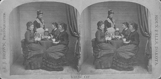 A Stereograph from 1880 of a tea party.