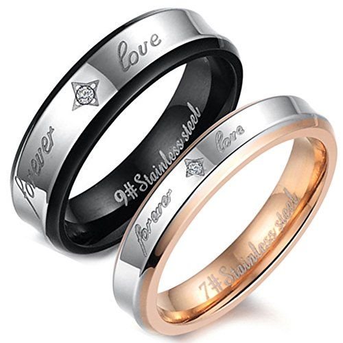 """Flongo Men's Womens """"Forever Love"""" Stainless Steel Ring Couples Valentine Wedding Engagement Promise Band - The Ultimate Shopping Portal"""