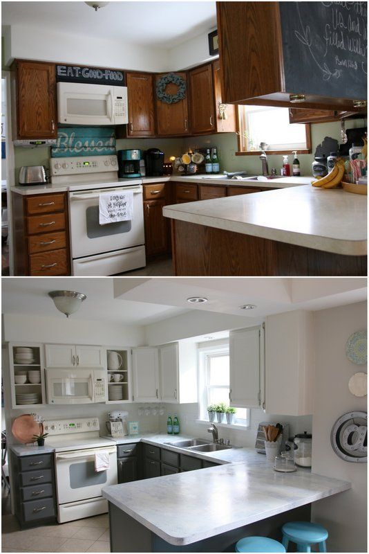 kitchen before and after updated with paint!!