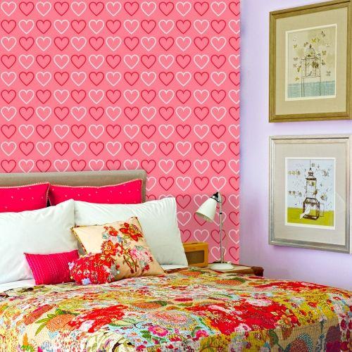 Adesivo de parede Corações Rosa e Branco