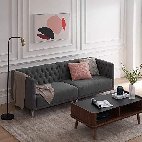 New Mopio Sofa Aiden Classic Contemporary Couch Living Room Tufted Sofa Design Includes Sturdy Chrome Legs Rich Velvet Upholstery 72 W Dark Gray Deep Blue In 2020 Couches Living Room Grey