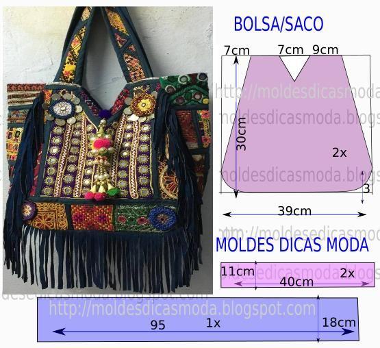 Bolsa Em Tecido Moldes : Molde de bolsa sacos franjas e