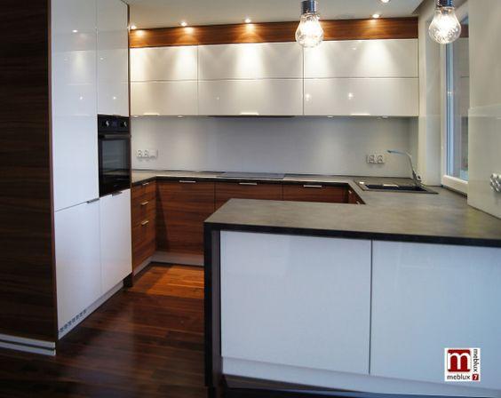 kuchnia biała połysk z drewnem  Szukaj w Google  KITCHEN