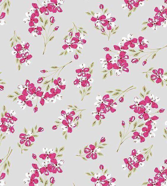 Papel de parede floral, fundo cinza com flores em tons rosa e branco, e folhas verdes - Glamour 04