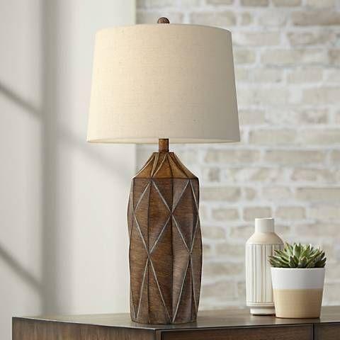 Katy Dark Wood Finish Modern Table Lamp With Oatmeal Shade 55m96 Lamps Plus Modern Table Lamp Table Lamp Lamp
