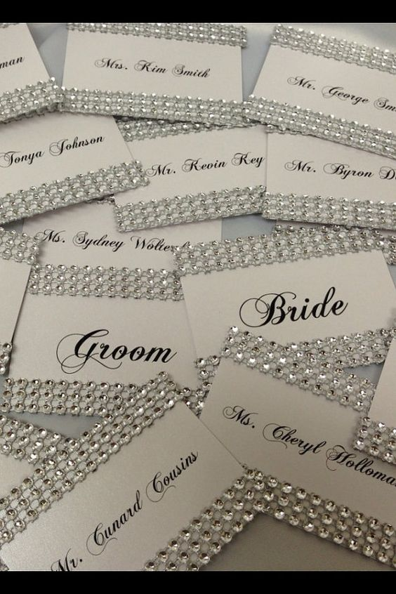 What about adding some sparkle to your tables with those beautiful guest cards?