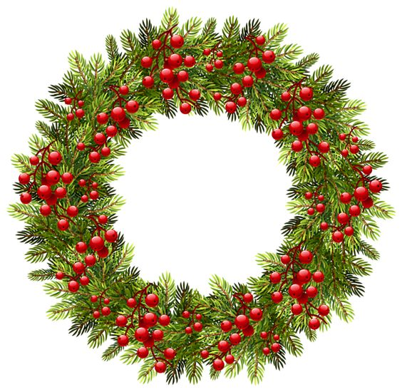 Green Christmas Pine Wreath PNG Clipart Image