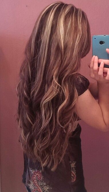 Long brunette blonde highlights hair wavy curly style ideas fall color dye pretty new  My Style