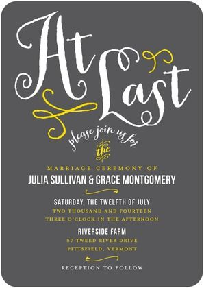 Signature White Wedding Invitations At Last - Front : Dark Gray