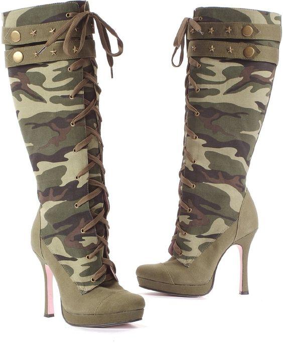 camo high heeled boots