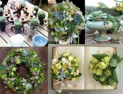 Love the use of succulents with the green flowers