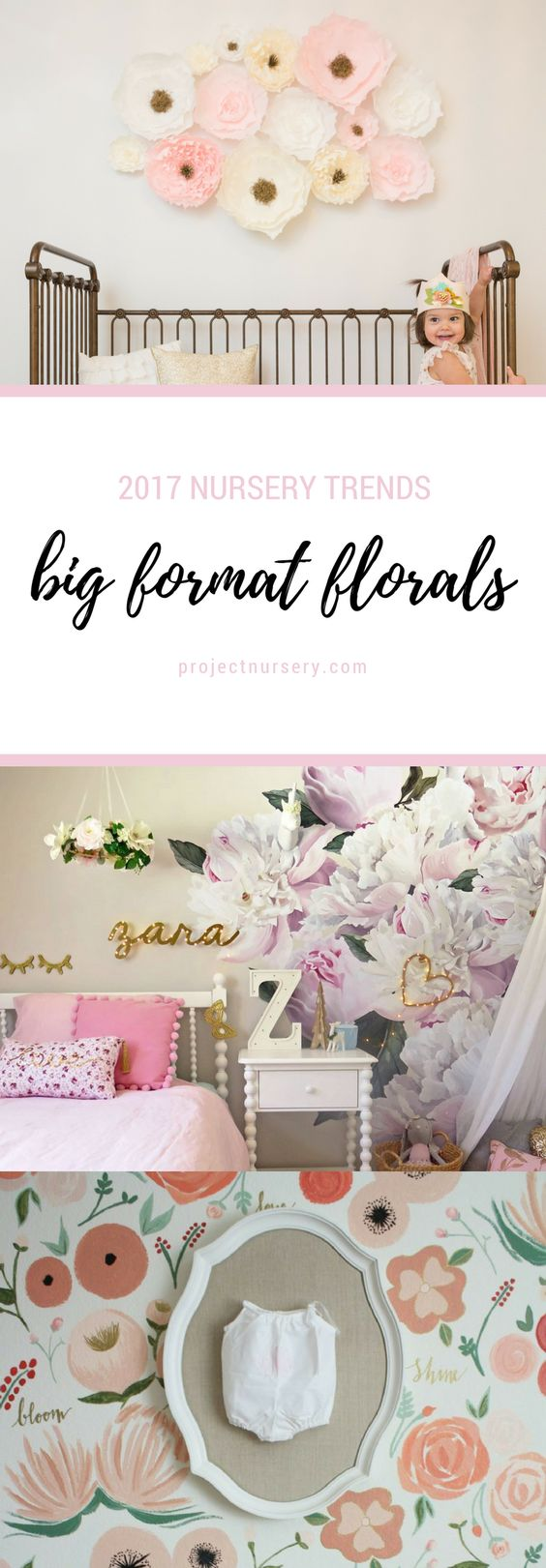 2017 Nursery Trends: Big format floral wall accents - We LOVE this trend for a baby girl nursery!