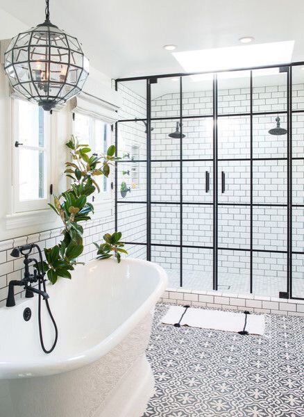 Love the shower door, tub, white and oil rubbed bronze fixtures  Bath love. Interior inspiration. Interior design. Bathroom design.: