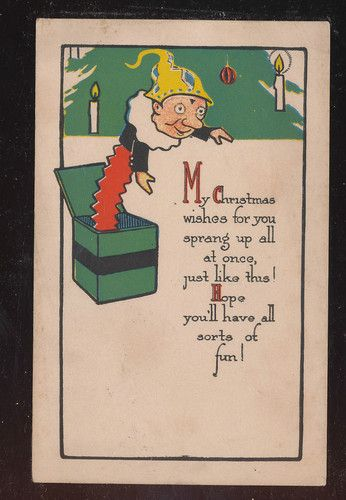Cute Jack in the Box Christmas Wishes Vintage Antique Postcard-aaa-800