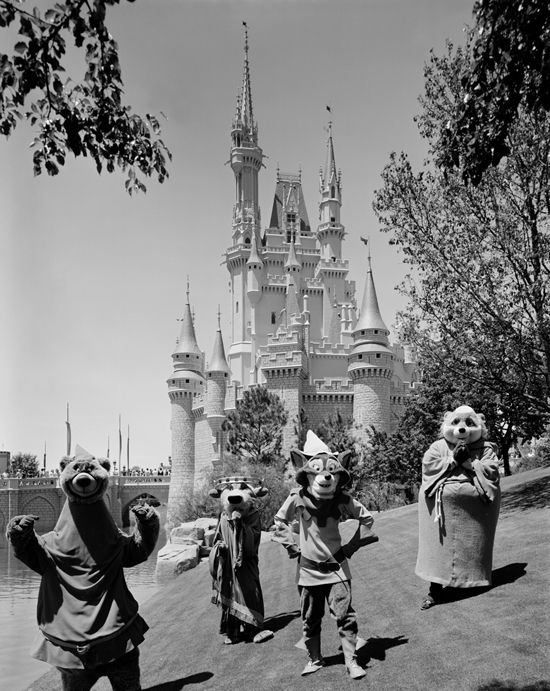 Here's a look at Little John, Prince John, Robin Hood and Friar Tuck walking near Cinderella Castle in Magic Kingdom Park from 1979.