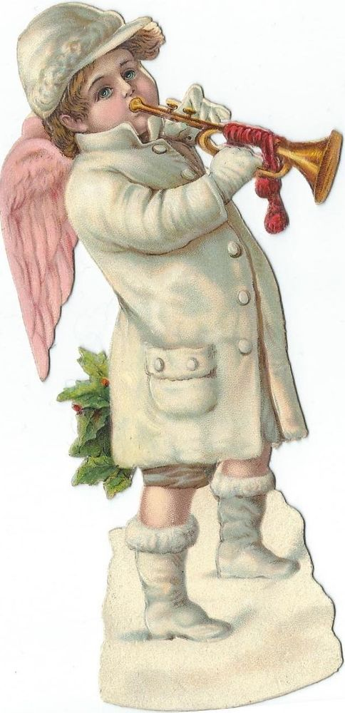 Oblaten Glanzbild scrap diecut Engel angel Winter Schnee snow Trompete Weihnacht: