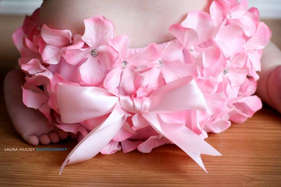 Matching Set Pink Petal Baby Bloomer Hydrangea Flower Headband Spring Newborn Photography Prop 6 moths 12 months 1 year 2T. $26.99, via Etsy.
