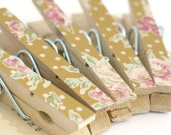 Set of 5 Decorated Pegs Wooden Peg Clips by thejellybeanstudio