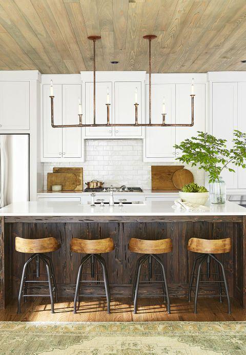 This Kitchen With Its Quartz Countertops Copper Light Fixtures Subway Tiles And A Cypress Kitchen I Kitchen Renovation Kitchen Island Design Kitchen Remodel