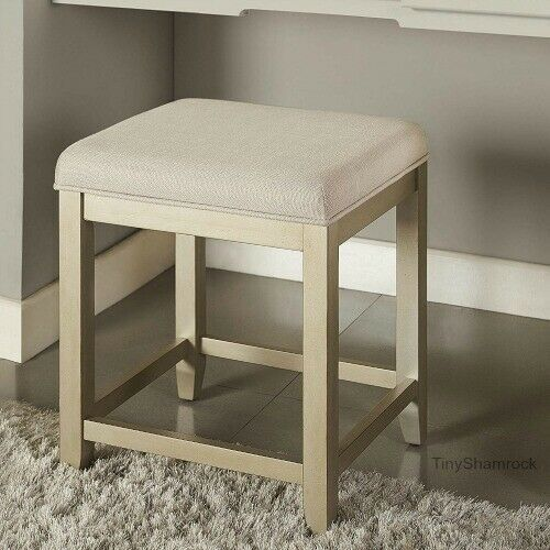 Elegant Vanity Stool Distressed Gold Wood Cream Linen Seat Hollywood Glam Makeup Tinyshamrockusa Hol Elegant Vanity Vanity Stool Shabby Chic Table And Chairs