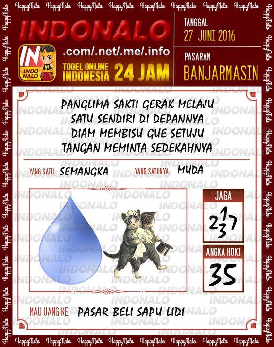 Prediksi Togel Online Live Draw 4D Indonalo Banjarmasin 27 Juni 2016