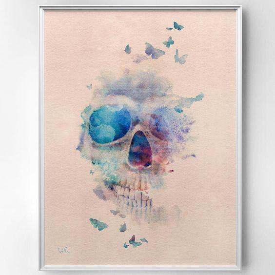 """. Nova """"Skull Rainbow"""" agora no acervo da @urbanarts  . #urbanarts #designdeinteriores #decor #decoration #decoração #homedecor #design #art #brasil #tattoo #arte #instaskull #skulls #skullart #interiordesign #dekor #casacor #calavera #pop #love #skull #caveira #aquarela #watercolor by franciscovalle_art"""