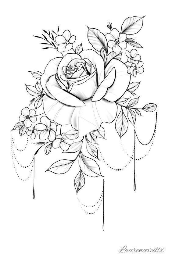 Plan De Tatouage Tattoo Rose Flower Disponible Instantanees Flowertattoos Telecharger Etsy In 2020 Rose Flower Tattoos Printable Tattoos Rose Tattoo Design
