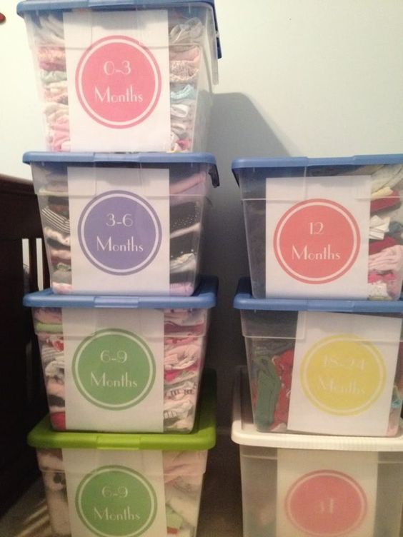 Print baby clothes sizes on paper/cardstock & stick inside clear bin for easy identification (labels won't fall off) in storage. Color-code the labels according to gender.