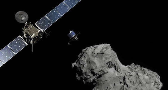 Rosetta spacecraft has stopped listening for Philae lander.  illustration of Rosetta and Philae approaching comet 67/P ~~ ATG medialab/ESA